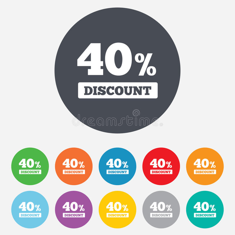 40 Percent Discount Sign Icon. Sale Symbol. Royalty Free Stock Image
