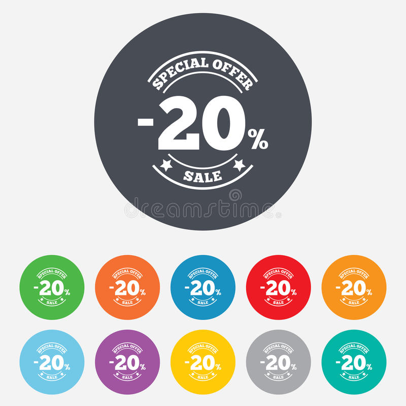 Download 20 Percent Discount Sign Icon. Sale Symbol. Stock Illustration - Image: 36728631
