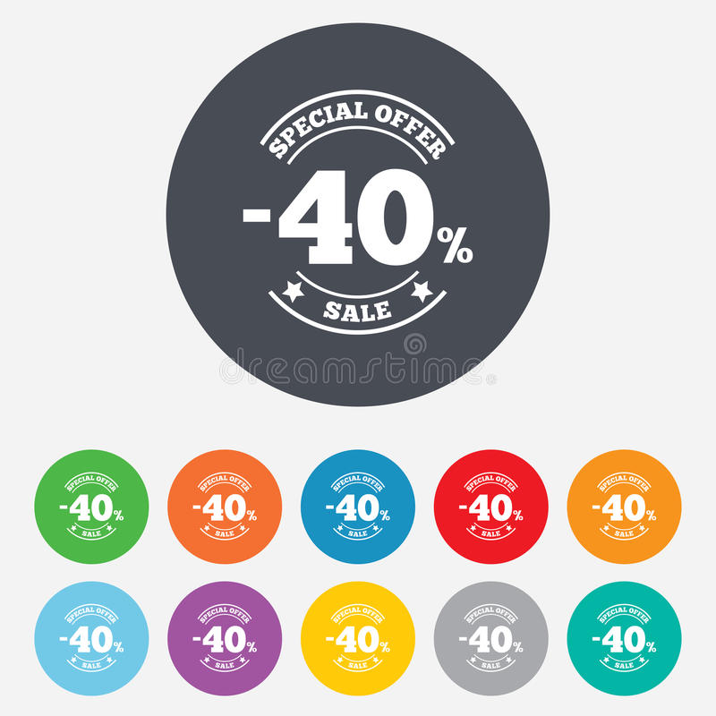 40 Percent Discount Sign Icon. Sale Symbol. Royalty Free Stock Photo