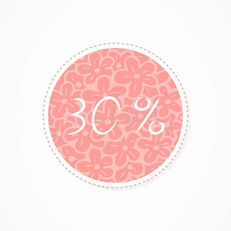 30 percent discounts inscription on decorative round backgrounds with abstract pattern. Hand drawn lettering. Vector illustration stock illustration
