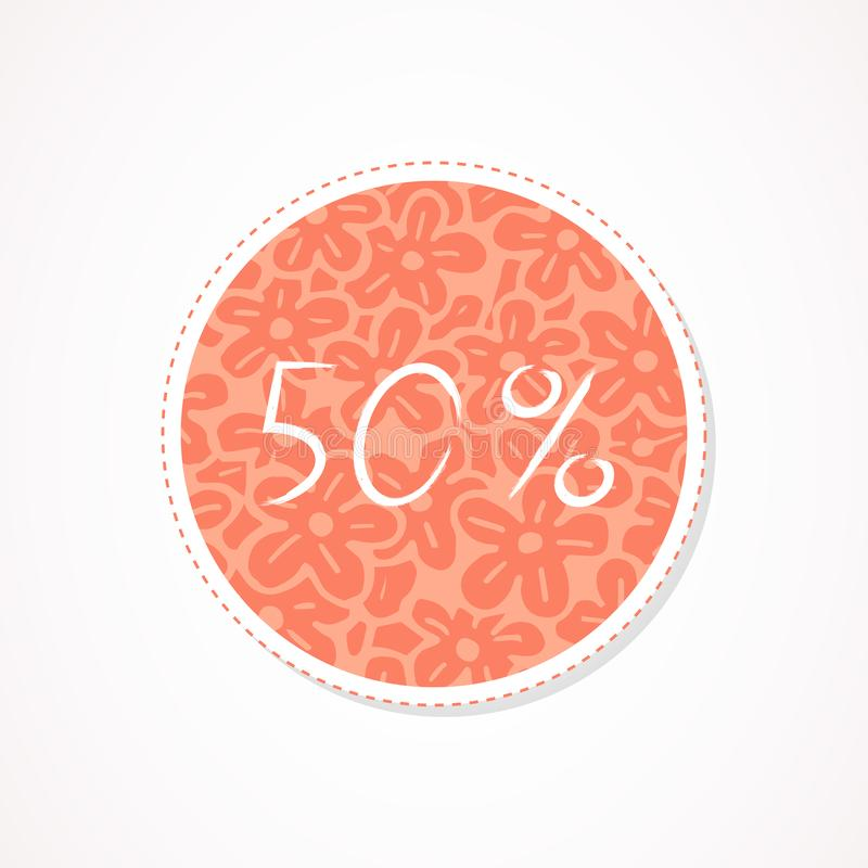 50 percent discounts inscription on decorative round backgrounds with abstract pattern. Hand drawn lettering. Vector illustration royalty free illustration