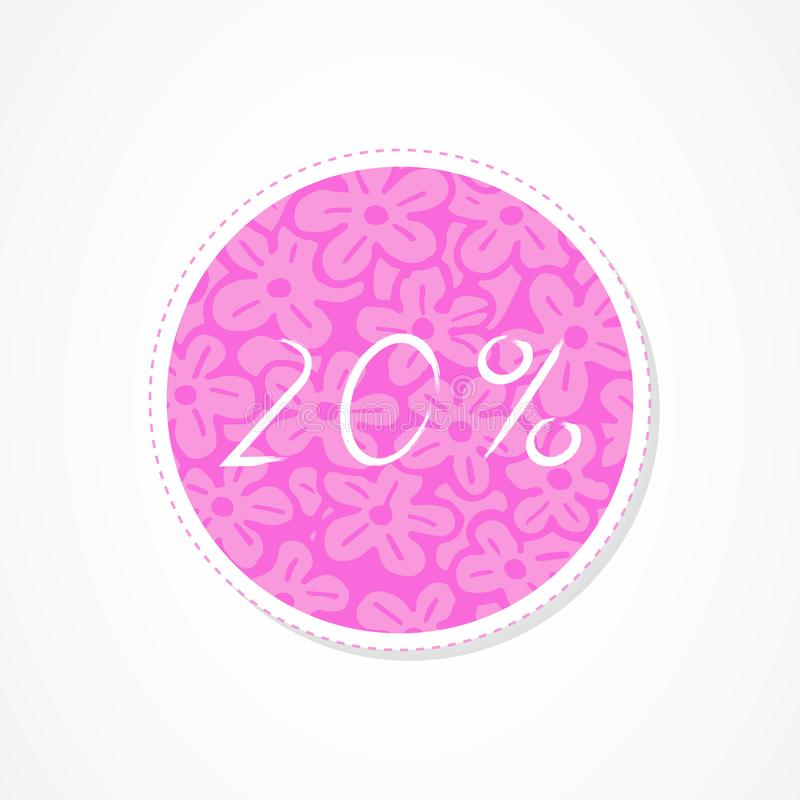 20 percent discounts inscription on decorative round backgrounds with abstract pattern. Hand drawn lettering. Vector illustration royalty free illustration