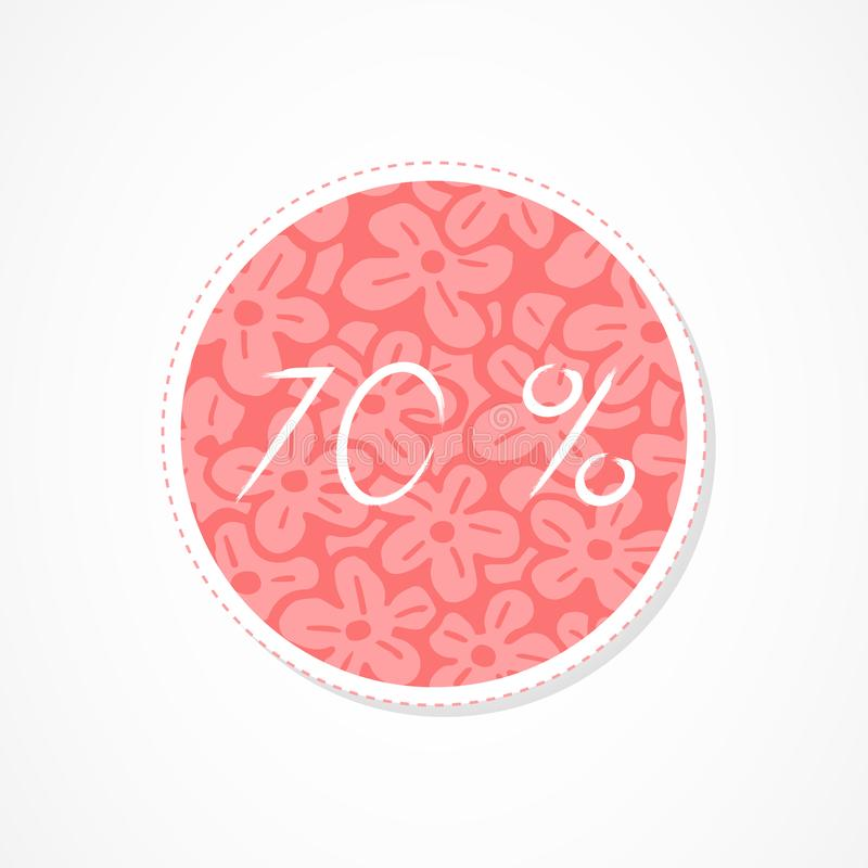 70 percent discounts inscription on decorative round backgrounds with abstract pattern. Hand drawn lettering. Vector illustration royalty free illustration