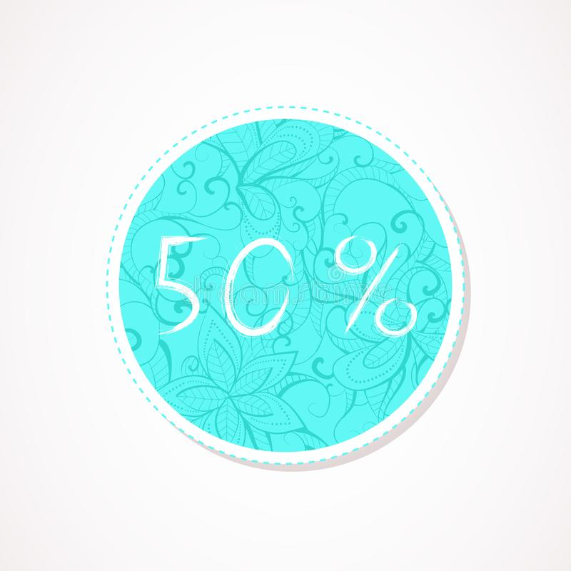 50 percent discounts inscription on decorative round backgrounds with abstract pattern. Hand drawn lettering. Vector illustration stock illustration