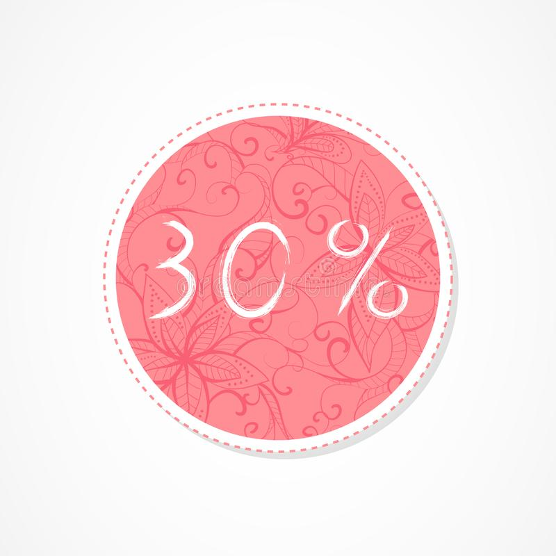 30 percent discounts inscription on decorative round backgrounds with abstract pattern. Hand drawn lettering. Vector illustration royalty free illustration
