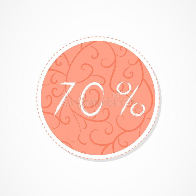 70 percent discounts inscription on decorative round backgrounds with abstract pattern. Hand drawn lettering. Vector illustration vector illustration