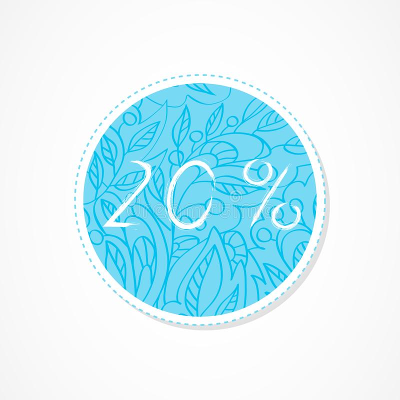 20 percent discounts inscription on decorative round backgrounds with abstract pattern. Hand drawn lettering. Vector illustration stock illustration