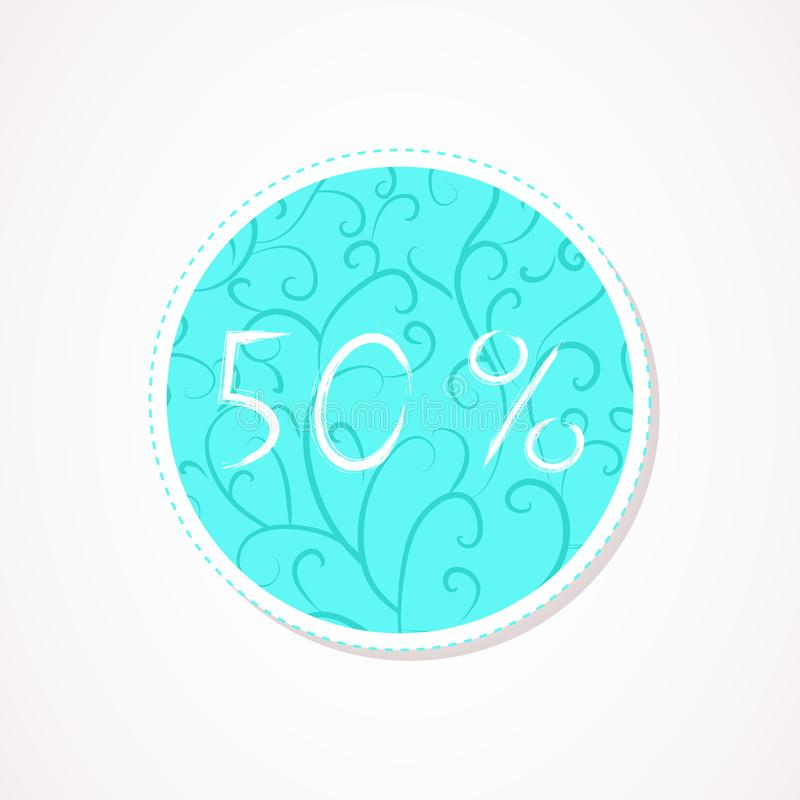 50 percent discounts inscription on decorative round backgrounds with floral pattern. Hand drawn lettering. Vector illustration stock illustration