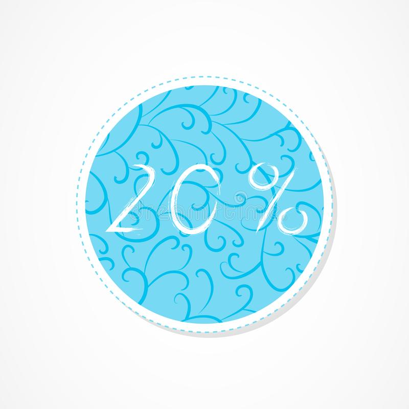 20 percent discounts inscription on decorative round backgrounds with floral pattern. Hand drawn lettering. Vector illustration stock illustration