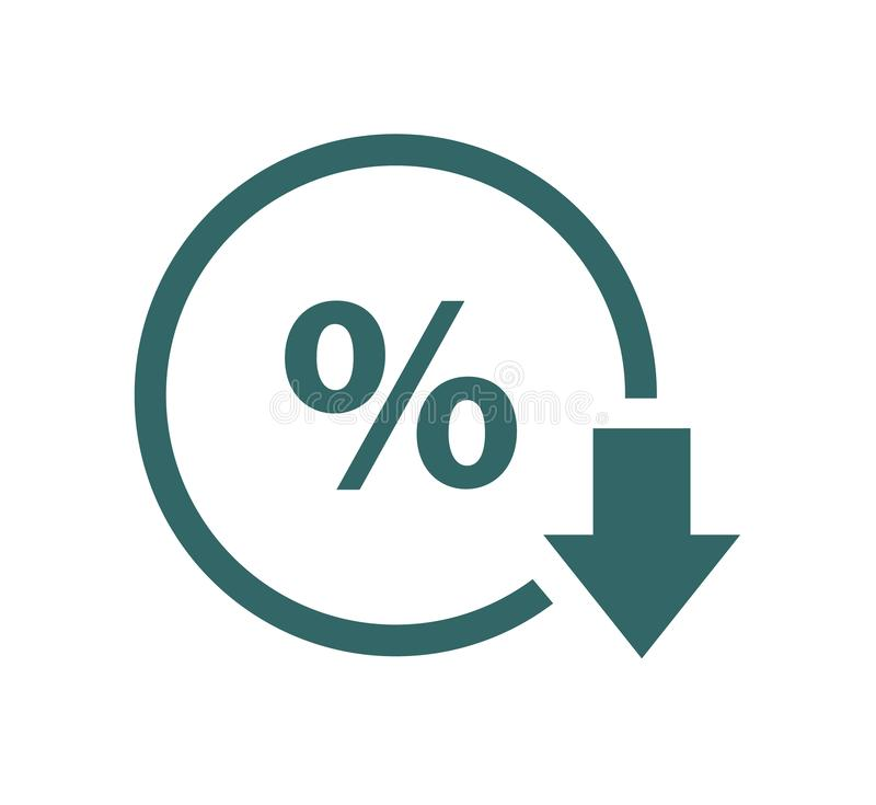Free Percent Down Line Icon. Percentage, Arrow, Reduction. Banking Concept Stock Photography - 133324202