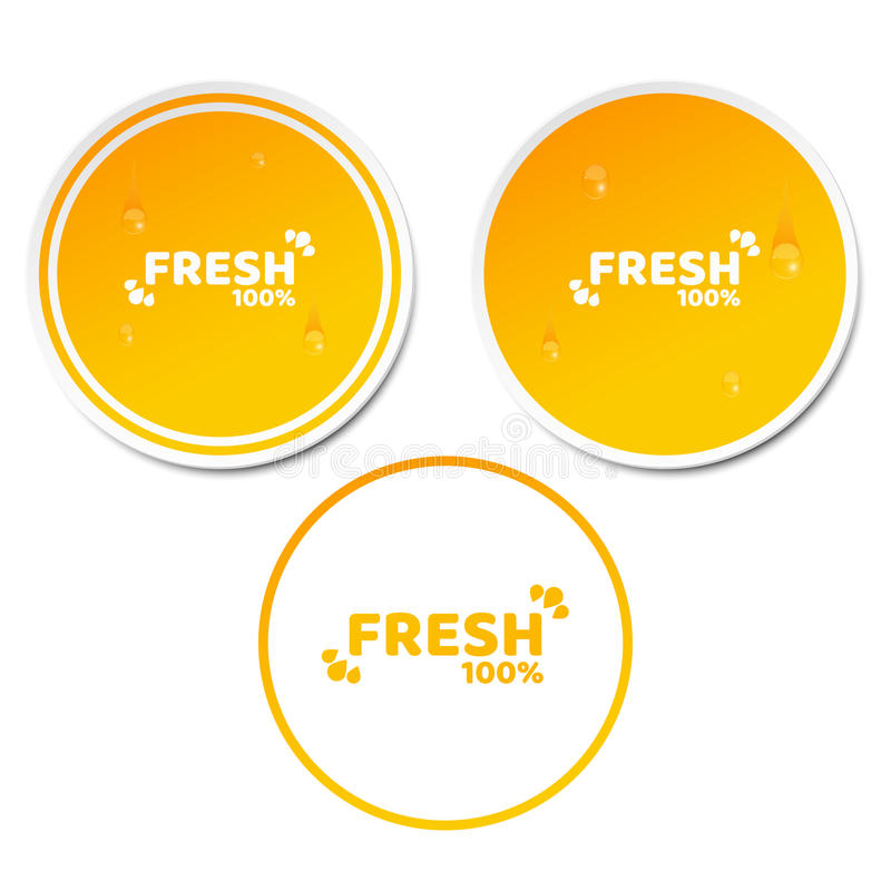 100 percent fresh product. Set of orange stickers in 3d style. Flowing drops of water. Natural product. Fresh orange juice. Ecolog royalty free illustration