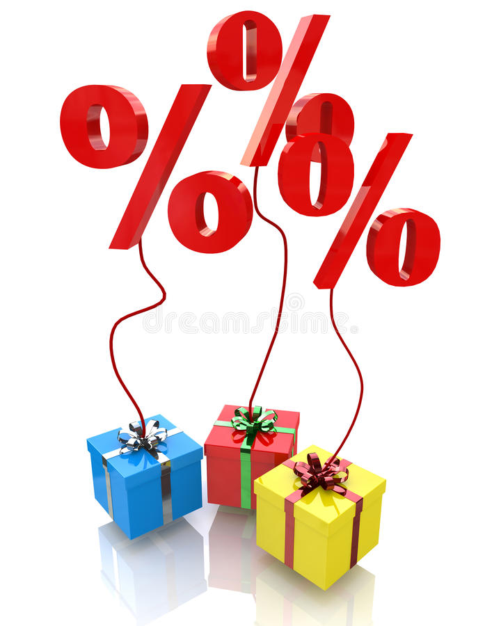 Percent in the gift royalty free stock image