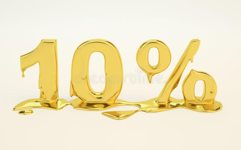 10 percent golden melted metal 3D royalty free stock photography