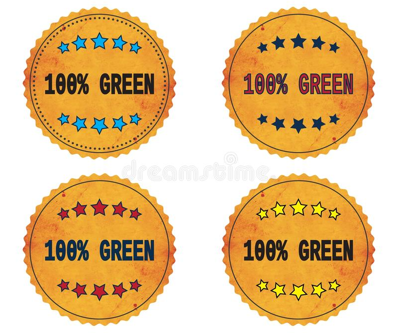 Download 100 PERCENT GREEN Text, On Round Wavy Border Vintage, Stamp Bad  Stock Illustration