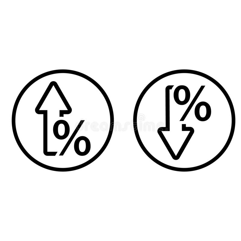 Percent growth and reduction vector icons. Cost rate and interest illustration symbol. royalty free illustration