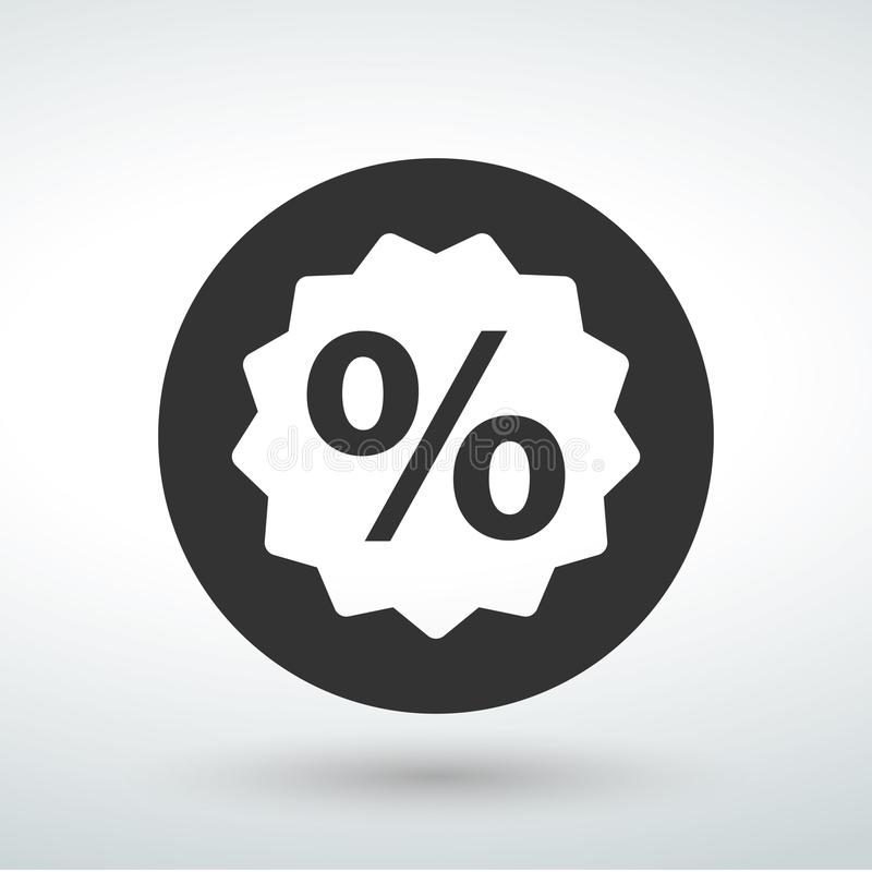 Percent icon in circle, illustration isolated on white background. vector illustration