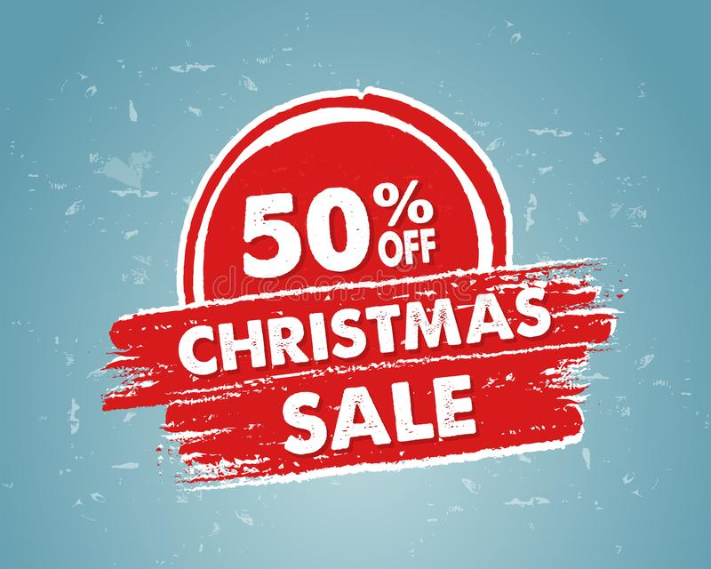 50 percent off christmas sale in red drawn banner stock images