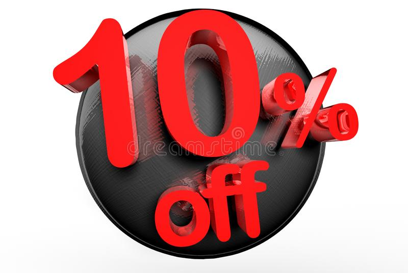 10 percent off 3D. stock illustration
