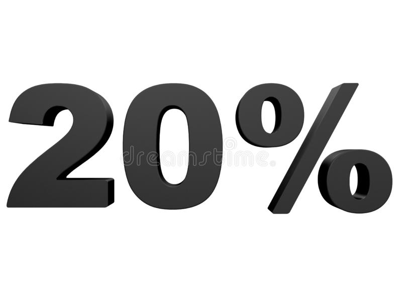 Percent off Discount %. 3d black text isolated on a white background 3d rendering royalty free illustration