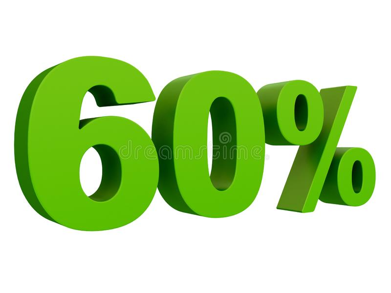 Percent off Discount %. 3d green text isolated on a white background 3d rendering royalty free illustration