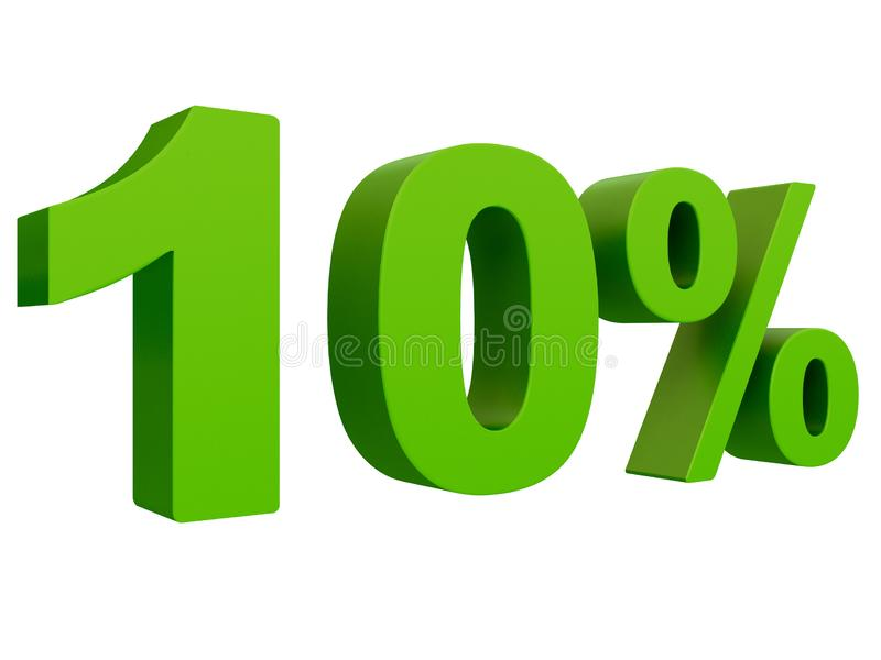 Percent off Discount %. 3d green text isolated on a white background 3d rendering vector illustration