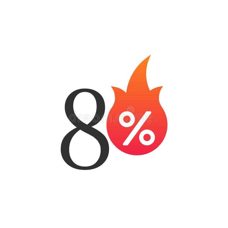 70 percent off with the flame, burning sticker, label or icon. Hot Sale flame and percent sign label, sticker. special offer, big stock illustration
