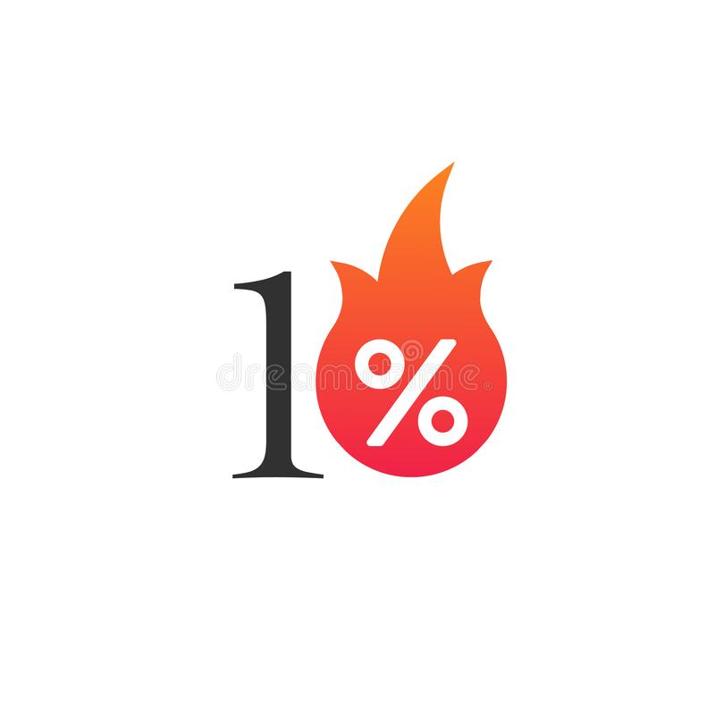 10 percent off with the flame, burning sticker, label or icon. Hot Sale flame and percent sign label, sticker. special offer, big stock illustration