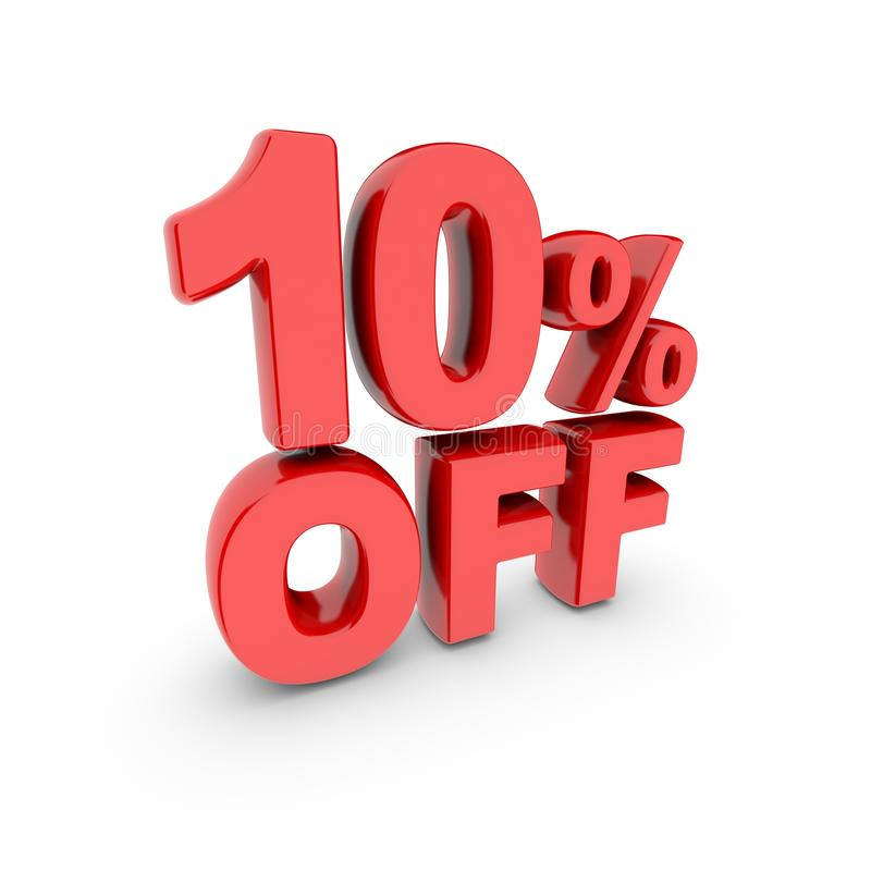 10 percent off promotion. Discount sign. Red text is isolated on white. stock illustration