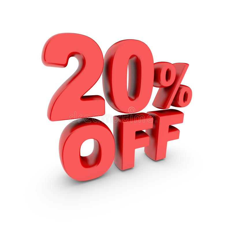 20 percent off promotion. Discount sign. Red text is isolated on white. 3d render stock illustration