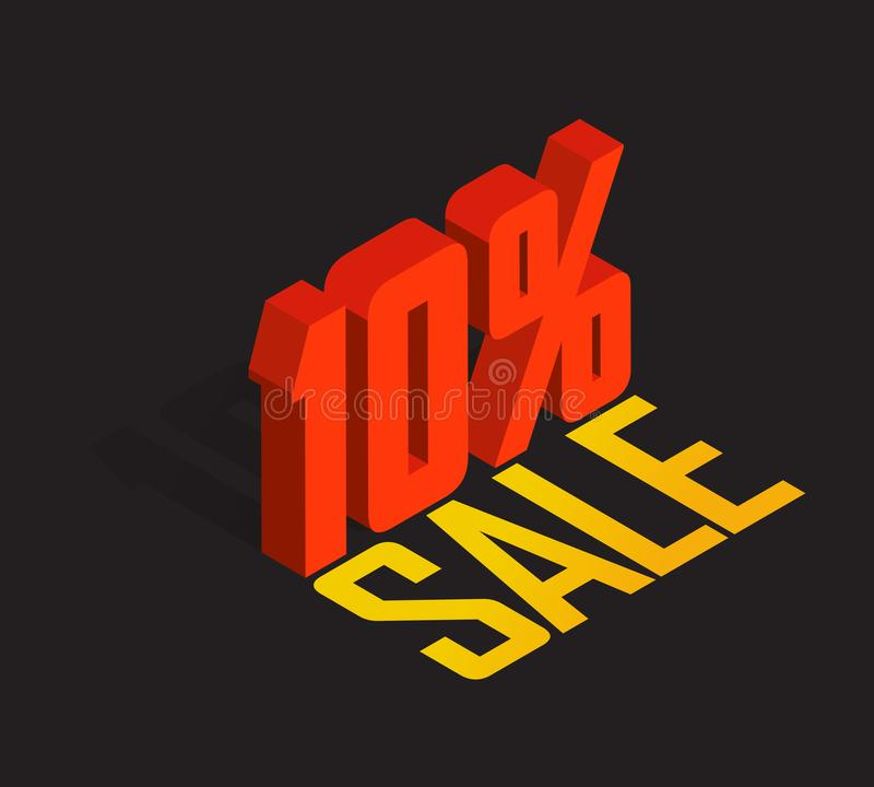 10% percent off, sale, red isometric object 3D. White background. Eps10 Vector stock illustration