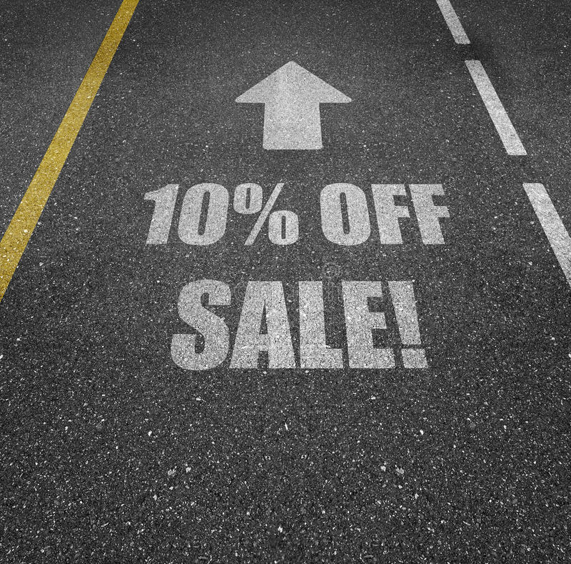 10 percent off sale. A road with a painted on message '10% off sale royalty free stock photos
