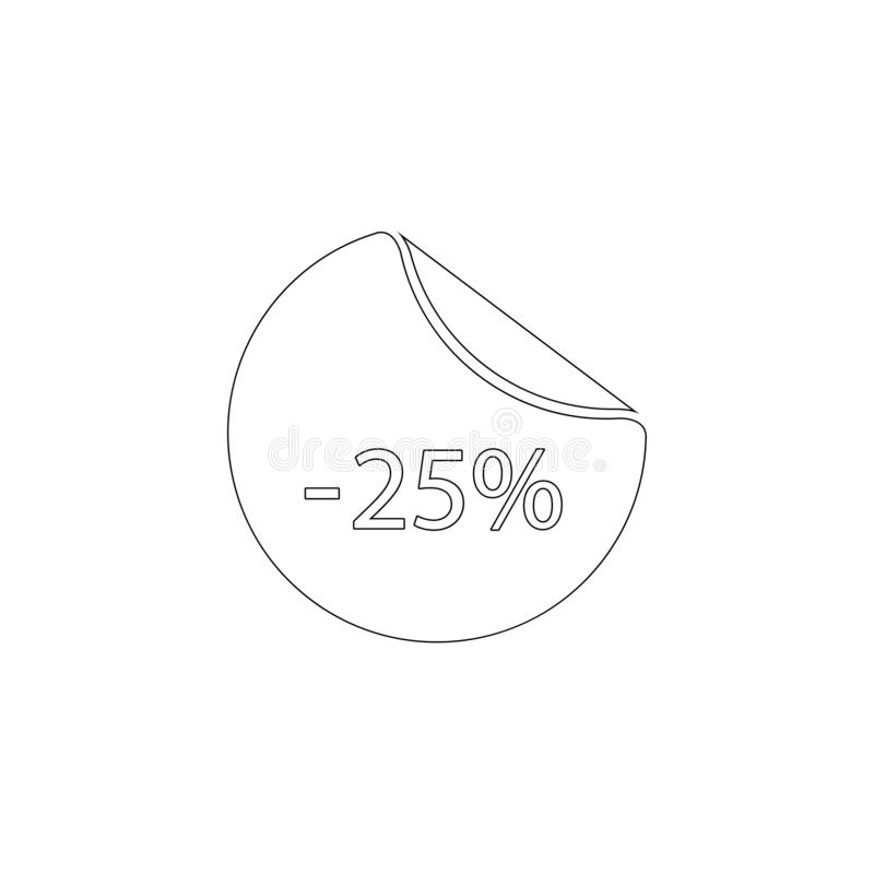 25 percent off, sale. flat vector icon royalty free illustration