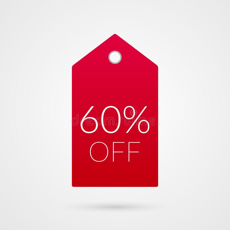 60 percent off shopping tag vector icon. Illustration sign for sale vector illustration