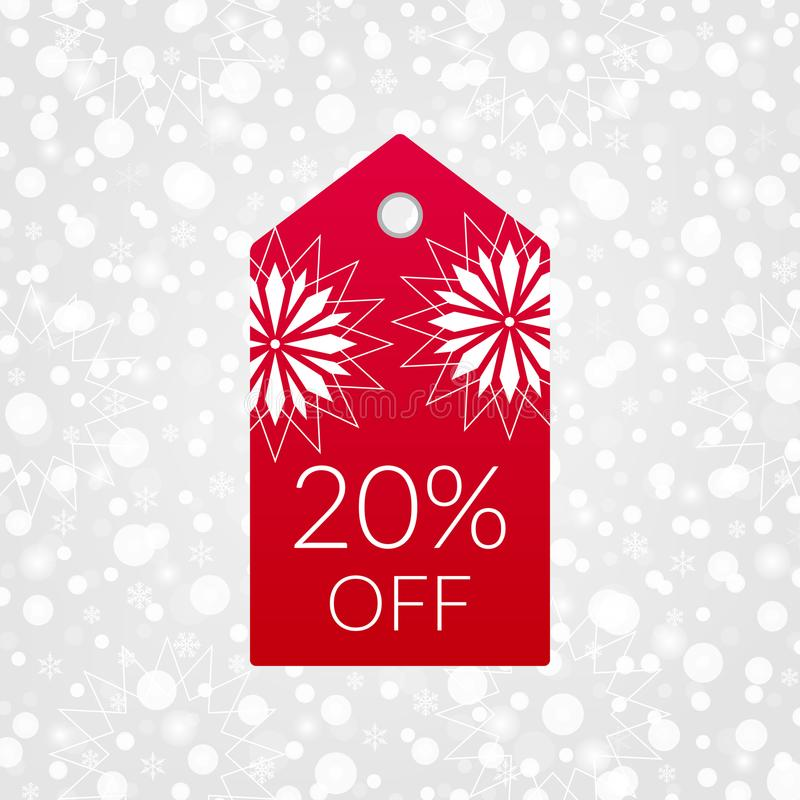 20 percent off shopping tag vector icon. Isolated discount symbol. Winter sale sign. Christmas background. 20 percent off shopping tag vector icon. Isolated royalty free illustration