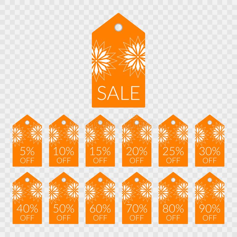5 10 15 20 25 30 40 50 60 70 80 90 percent off shopping tag vector icons. Labels for sale royalty free illustration