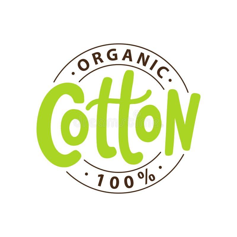 100 percent organic cotton. Vector text label illustration. Hand drawn lettering. royalty free illustration