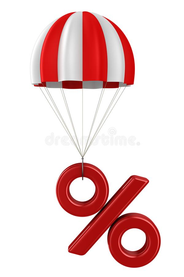 Percent and parachute on white background. Isolated 3D illustration.  stock illustration