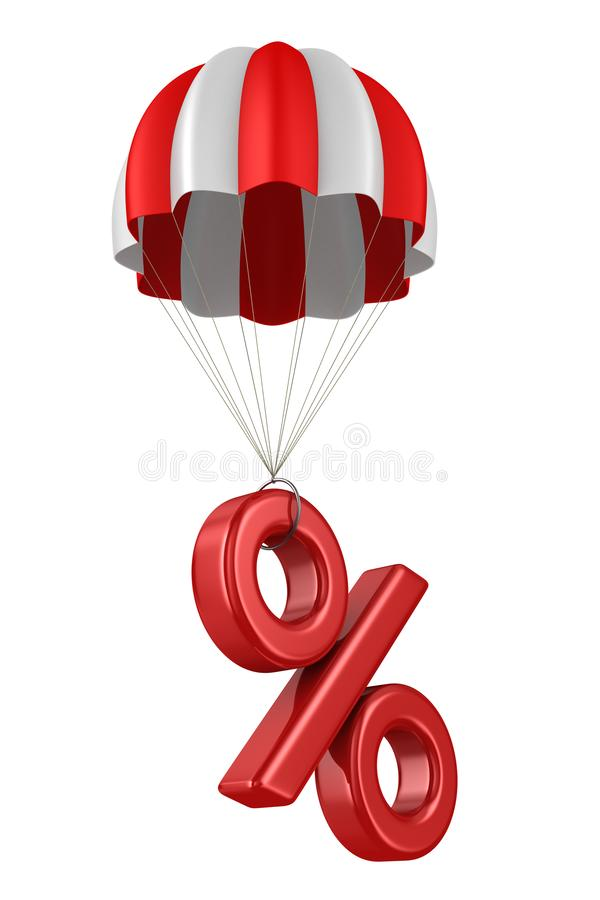 Percent and parachute on white background. Isolated 3D illustration.  royalty free illustration