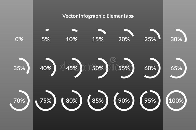 0 5 10 15 20 25 30 35 40 45 50 55 60 65 70 75 80 85 90 95 100 percent pie chart icons. Percentage vector infographics royalty free illustration