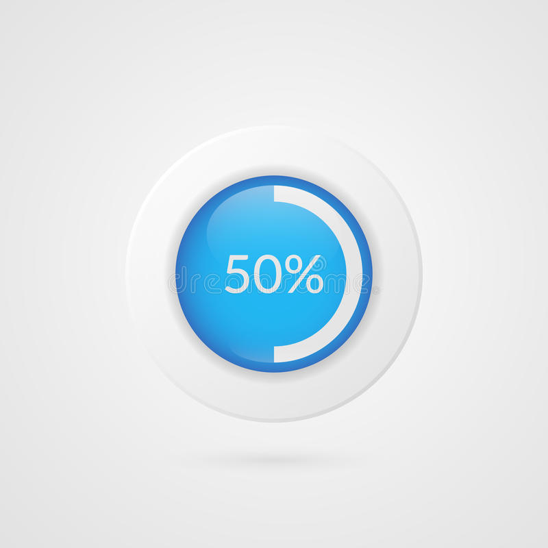 50 percent pie chart. Percentage vector infographics. Circle diagram symbol. Business illustration icon for report. 50 percent blue white pie chart. Percentage royalty free illustration