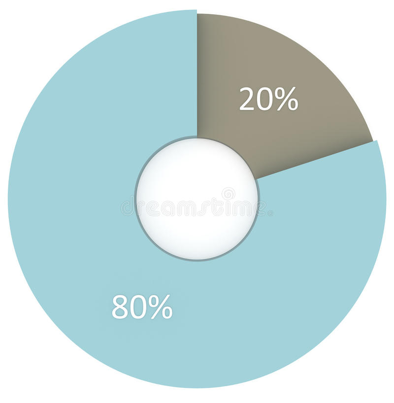 20 80 percent pie diagram isolated. 3d Circle charts. Percentage infographics vector illustration