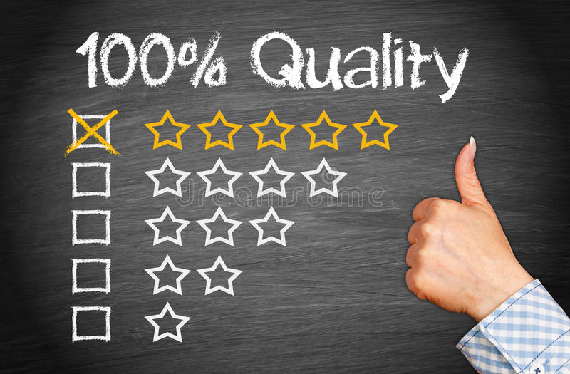 100 Percent Quality with thumb up royalty free stock image