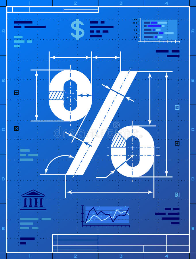 Percent sign like blueprint drawing stock vector illustration of stylized drafting of percentage symbol on blueprint paper qualitative vector eps 10 illustration for banking financial industry sale discount malvernweather Choice Image