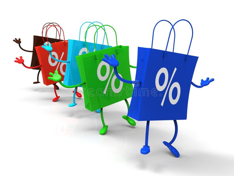 Percent Sign On Shopping Bags Shows Bargains. And Promotions vector illustration