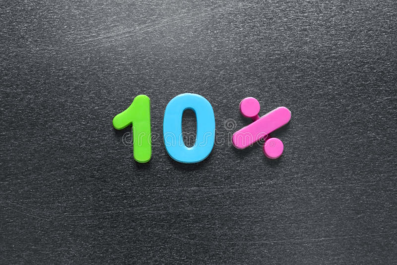 Download 10 Percent Spelled Out Using Colored Fridge Magnets Stock Image - Image: 31407213