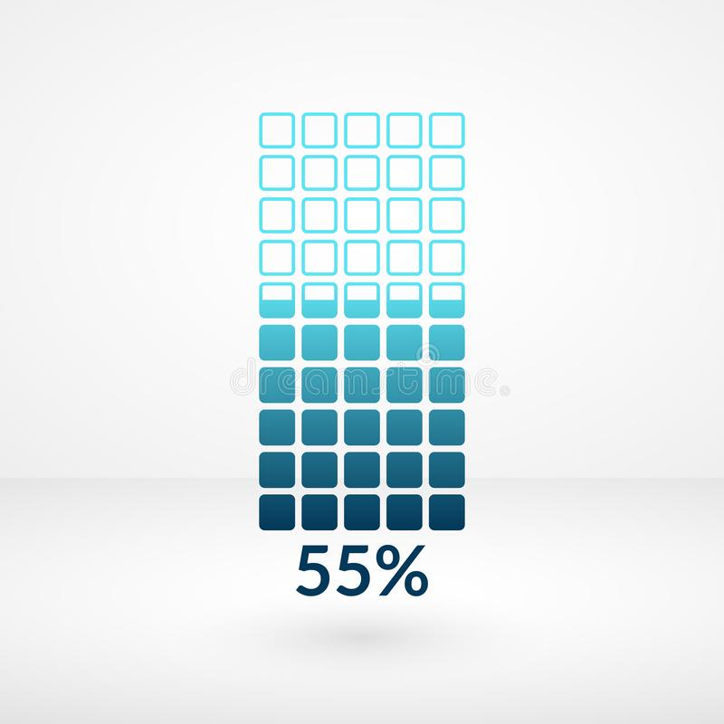 55 percent square chart isolated symbol. Percentage vector element. Infographic diagram sign. Business illustration, icon. For marketing project, stock exchange royalty free illustration