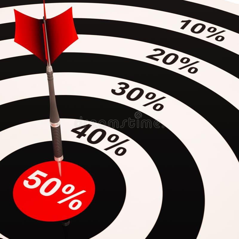 50Percent sur la cible montre la grande épargne illustration libre de droits