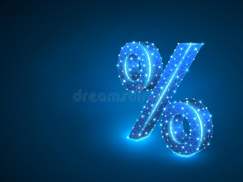 Percent symbol abstract neon 3d. Polygonal Vector business concept of banking, calculation, discount. Low poly wireframe royalty free illustration