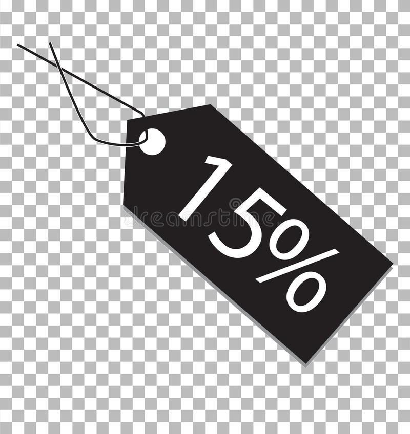 15 percent tag on transparent background. 15 percent tag sign. Flat style. 15 percent tag icon for your web site design, logo, app, UI royalty free illustration