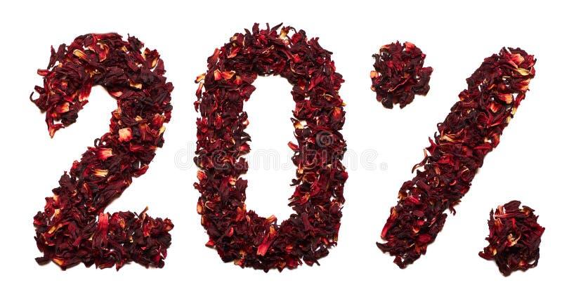 20 percent van hibiscusthee op een witte geïsoleerde achtergrond royalty-vrije stock foto's